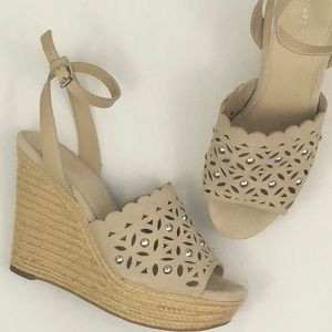 NEW! Marc Fisher Tan Suede Espadrille Wedges 8.5